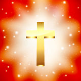 Golden cross on light rays Stock Photo