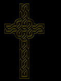 Golden cross over black - Celtic knot style outline Royalty Free Stock Photos
