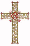 Golden  cross with red  element Stock Images