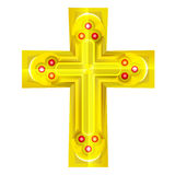 Golden cross with red rubby object Royalty Free Stock Photos