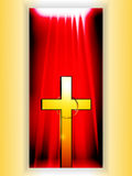 Golden Cross with ring over reb banner. Golden Cross With Ring Over Red Velvet Drape Panel Cartoon Style Stock Images