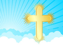 Golden cross in the sky Royalty Free Stock Photo