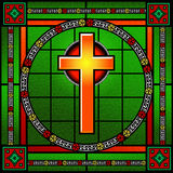 Golden cross stained glass window Royalty Free Stock Photography