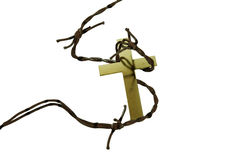 Golden cross and thorns Royalty Free Stock Images