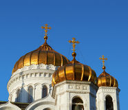 Golden crosses and blue skies Stock Photo