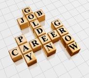 Golden crossword - job, career, grow, pay. 3d gold boxes with text - golden job, career, grow, pay, crossword Royalty Free Stock Photos