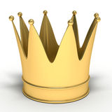 Golden Crown. 3D Golden Crown isolated on white Stock Photography