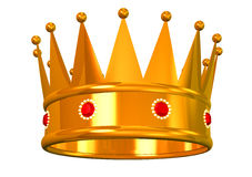 Golden crown. King's or queen's golden crown on white stock illustration