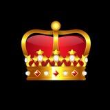 Golden crown. On black background Stock Photos