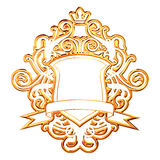 Golden Crown. Golden Coat Of Arms With Crown Stock Photography