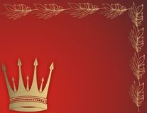 Golden crown. Frame on red background Royalty Free Stock Images