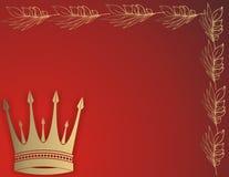 Golden crown. Frame on red background vector illustration