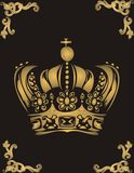 Golden crown. On black background Royalty Free Stock Photo