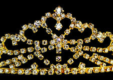 Golden crown. On black background Stock Photography