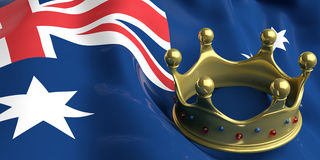 Golden crown on Australia flag.3d illustration Stock Photo
