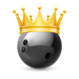 Golden crown on  ball for bowling Royalty Free Stock Images