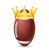 Golden crown on  ball rugby Royalty Free Stock Image
