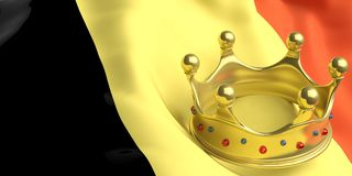 Golden crown on Belgium flag.3d illustration Stock Photo