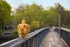 A golden crown on bridge. A golden crown on the bridge going to Skeppsholmen, Stockholm Stock Photos
