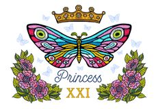 Golden crown, butterflies colorful embroidery, vintage style flo. Wers, flight insect butterflies, wings textured, stripe. Princess lettering, fashion floral royalty free stock photos