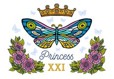 Golden crown, butterflies colorful embroidery, vintage style flo. Wers, flight insect butterflies, wings textured, stripe. Princess lettering, fashion floral royalty free stock image