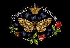 Golden crown, butterflies golden embroidery, vintage style roses. Flight insect butterflies, wings textured, stripe. Princess Summer lettering, fashion design royalty free stock image