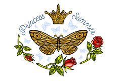 Golden crown, butterflies golden embroidery, vintage style roses. Flight insect butterflies, wings textured, stripe. Princess Summer lettering, fashion design stock photography
