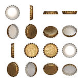 Golden crown cap. A worn golden crown cap in different angles Stock Images