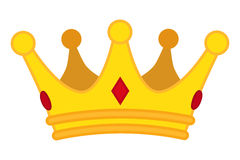 Golden crown cartoon icon. Vector jewelry for monarch. Royalty Free Stock Image