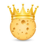 Golden crown on cheese Stock Photos