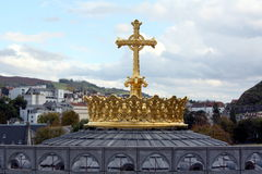 Golden crown with cross Stock Image