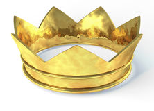 Golden crown. 3d rendering isolated on white background Stock Images