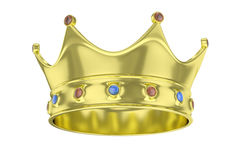 Golden crown. 3D rendering. royalty free stock images