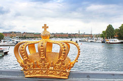 Golden crown detail in Stockholm, Sweden Royalty Free Stock Photos