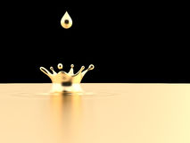 Golden Crown. Golden drop isolated on black background Royalty Free Stock Photo