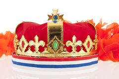 Golden crown with Dutch colors Stock Photos