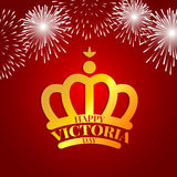 Golden crown with fireworks for Victoria day. Golden crown with fireworks for celebrate the Victoria day Stock Photos
