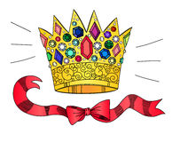 Golden crown with gems and ribbons Royalty Free Stock Photo