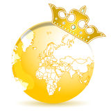 Golden crown and globe Royalty Free Stock Image