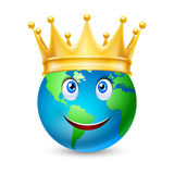 Golden crown on the globe Royalty Free Stock Photo