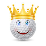 Golden crown on  golf ball Royalty Free Stock Image