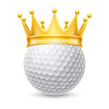 Golden crown on  golf ball Stock Photos
