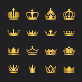 Golden crown icons set Royalty Free Stock Photo