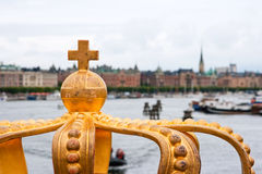 Golden Crown In Stockholm Royalty Free Stock Photography