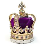 Golden crown with jewels isolated on white. English royal symbol of UK monarchy royalty free stock photography