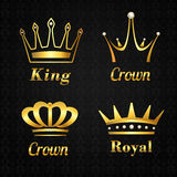 Golden crown labels set Stock Photo