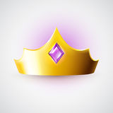 Golden crown with purple gem Royalty Free Stock Photo