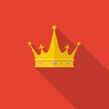 Golden crown on red background with long shadow. Royalty Free Stock Photos