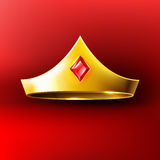 Golden crown with red gem Royalty Free Stock Photography