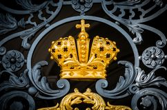 The golden crown of the Russian Empire with antique metal forging. The golden crown of the Russian Empire with antique metal forging stock images